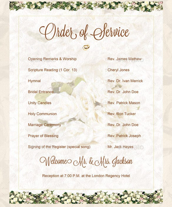 sample wedding order of template download