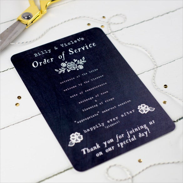 Dark Background Wedding Order Of Service Template Download  Order Of Service Template Free
