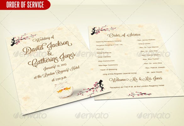 Wedding Order Of Service Tempate With Invitation