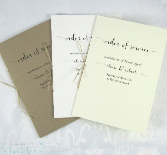 wedding order of service instant download