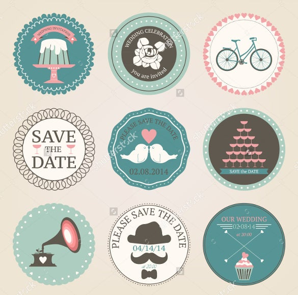 vintage wedding sticker template for download