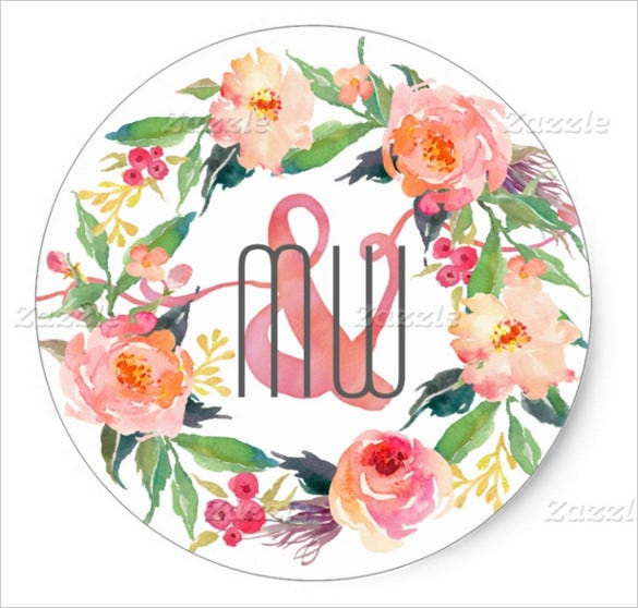 floral wedding sticker template for download