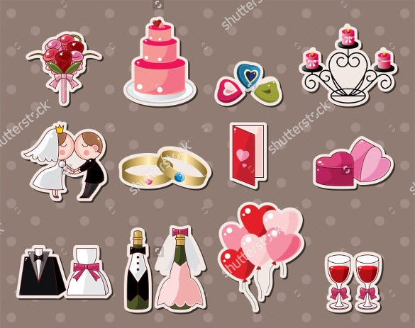 colorful wedding sticker templates for download