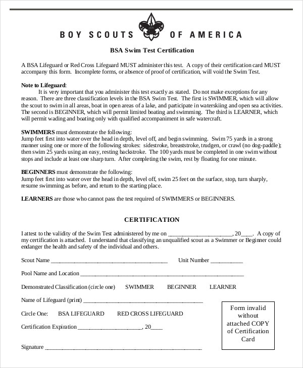 swim test certificate template