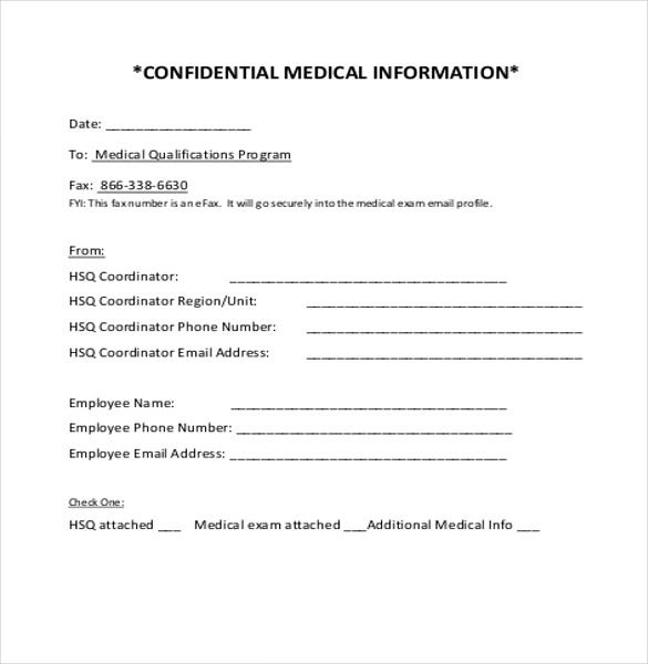 Confidential Cover Sheet Templates  Free Sample Example