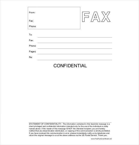 confidential cover sheet free download