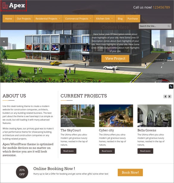 responsive wordpress construction website template