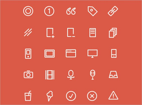 web icons with red background
