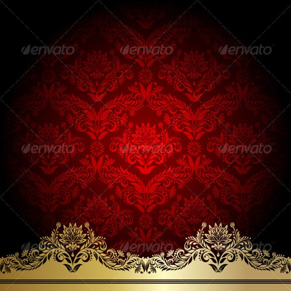 red background with gold flowers and leaves download