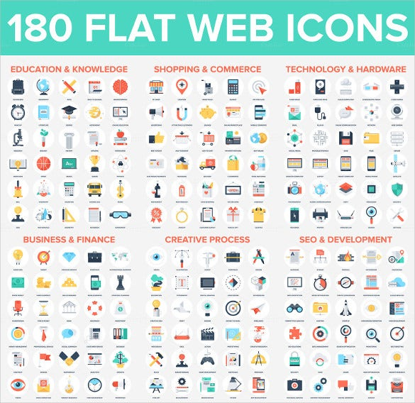 180 different type of flat web icons download instantly