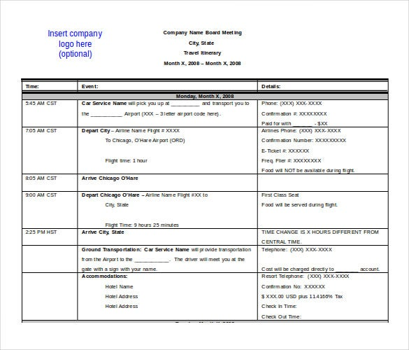 Business Travel Itinerary Template  Business Itinerary Template With Meetings