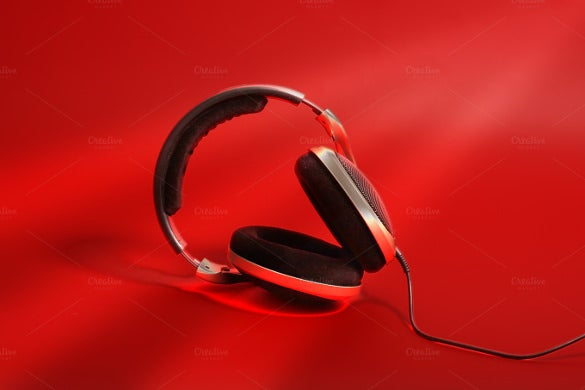 headphones on red background download