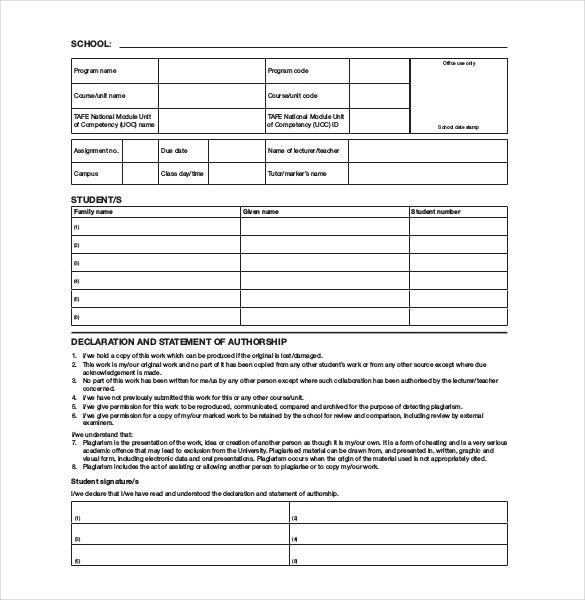 example blank cover sheet free download