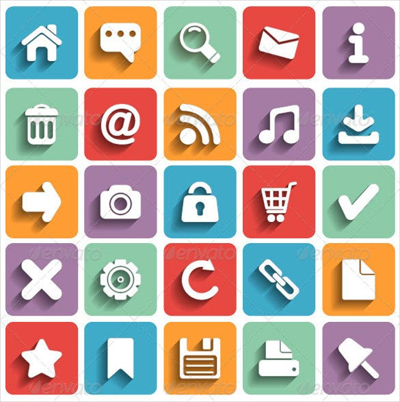 modern flat web icon set download