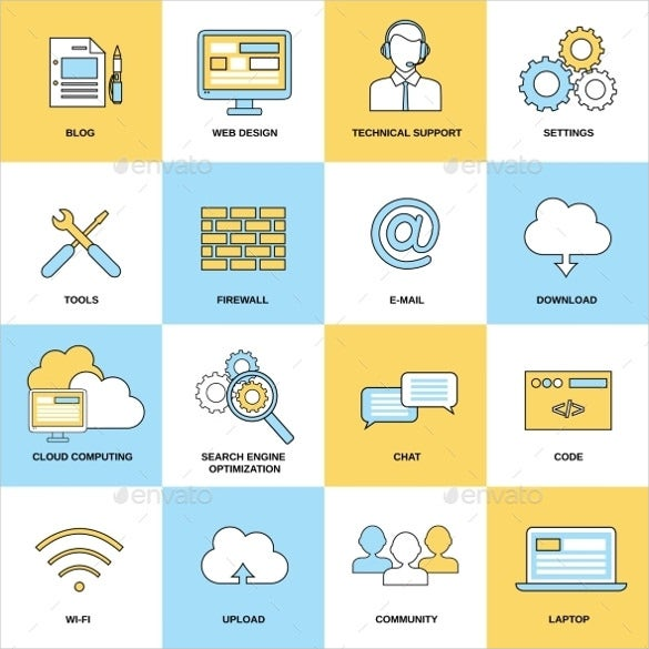flat line web icons download