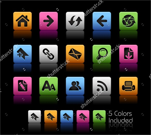 5 coloured web icon bundle