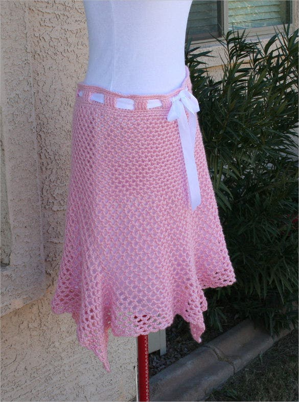 pink colour crochet skirt pattern download