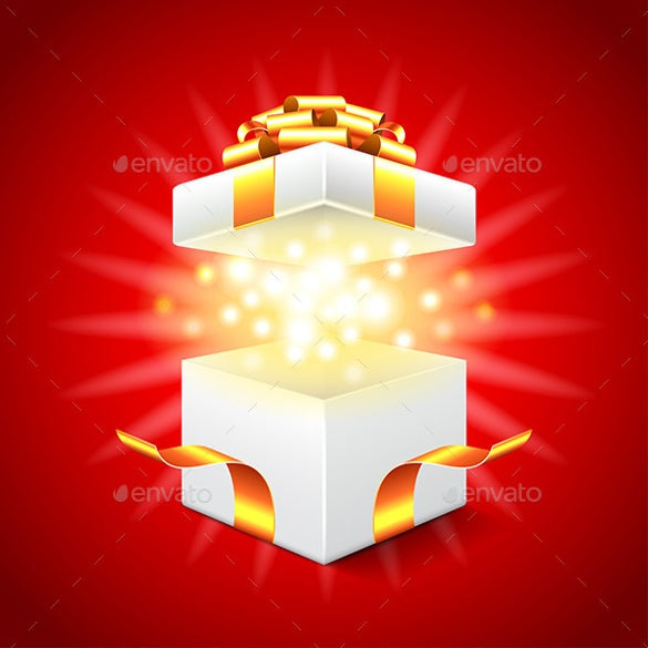 opened gift box on red background download