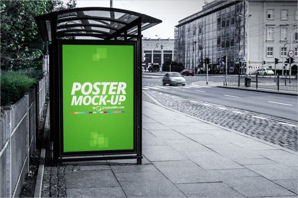 bus stand poster moke up download