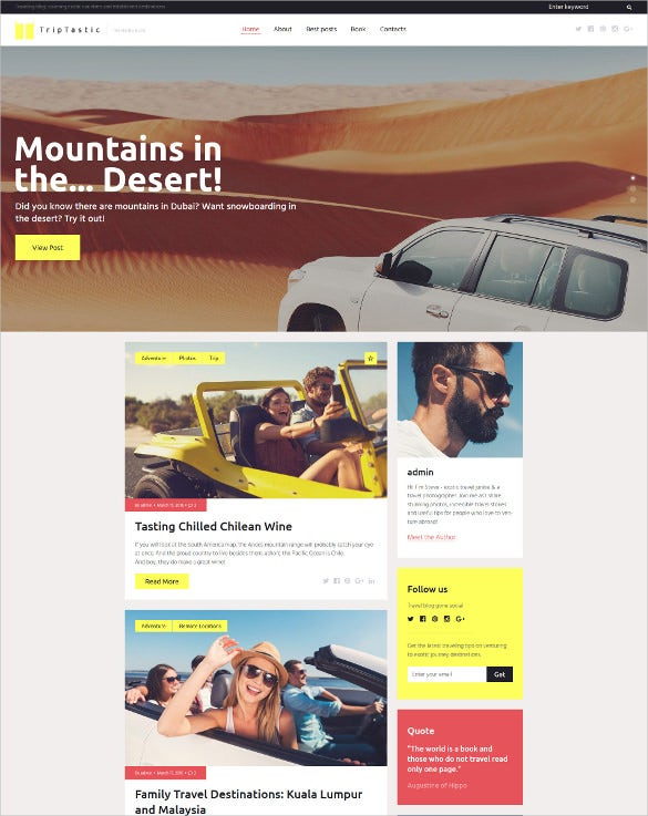 travel blog html5 wordpress theme