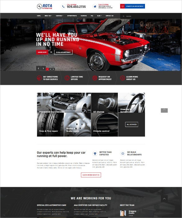 automobile workshop html5 template