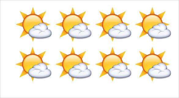 white sun with small cloud emoji download