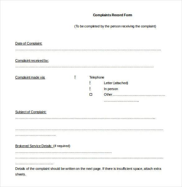 complaint log template word format download