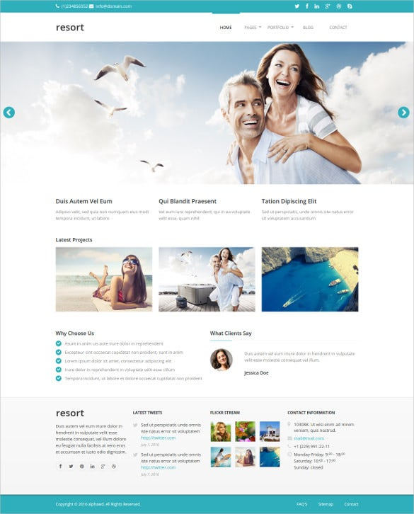 responsive resort html5 template