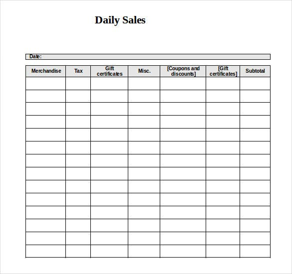 sales log template