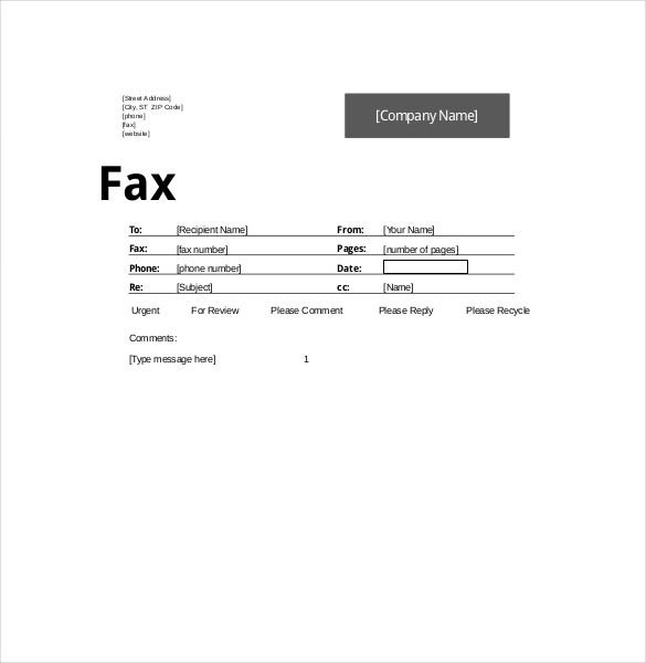 10  fax cover sheet templates