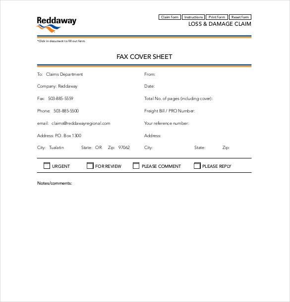 sample reddaway fax cover sheet