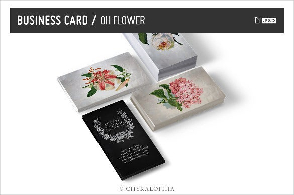flower business card psd download