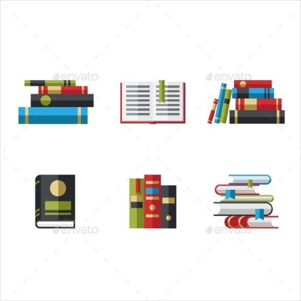 set of book icons flat design download