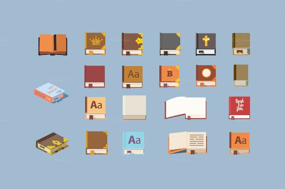 simple book icons set design download