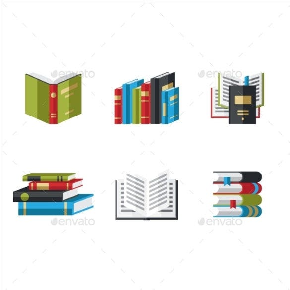 simple book icons design download