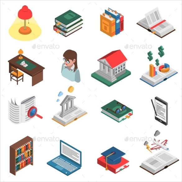 books icons set vector illustration download