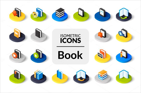 isometric book icons set download