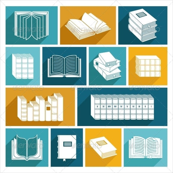 editable eps book icon set download
