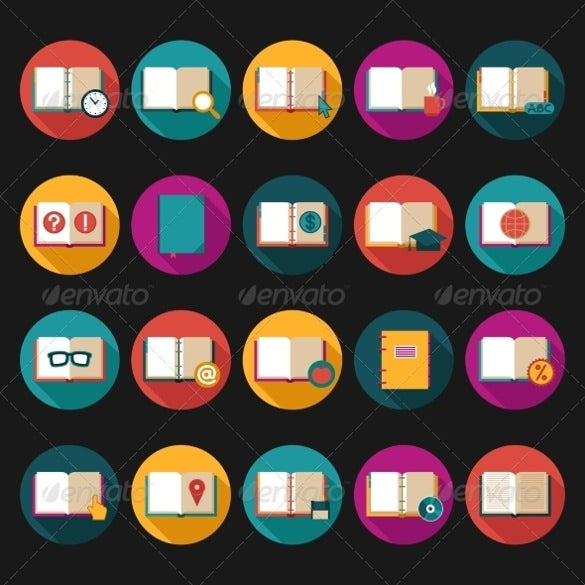 books symbols flat icon set download