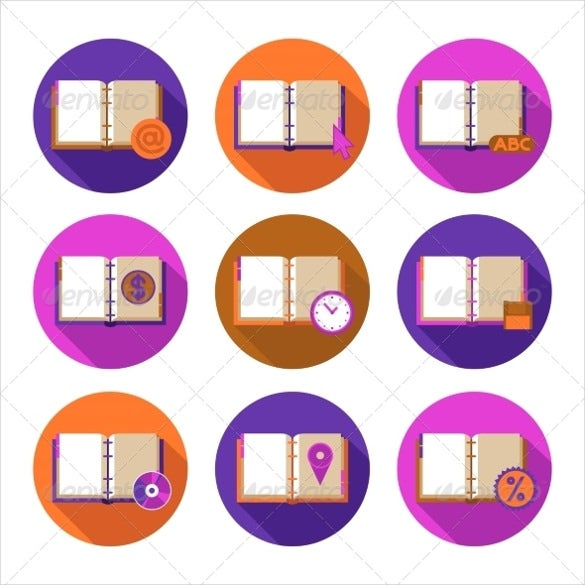 book literature flat icons set download