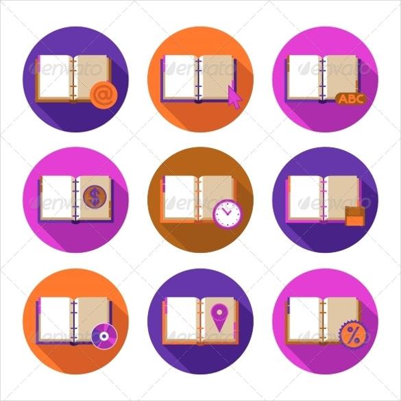 book literature flat icons set download