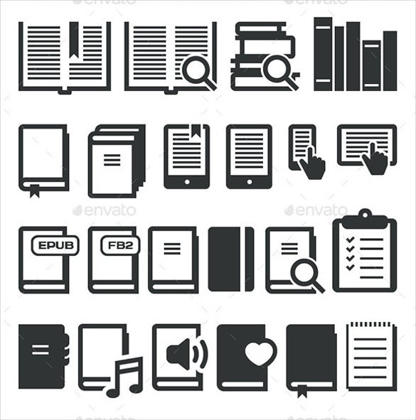 e book icons set download