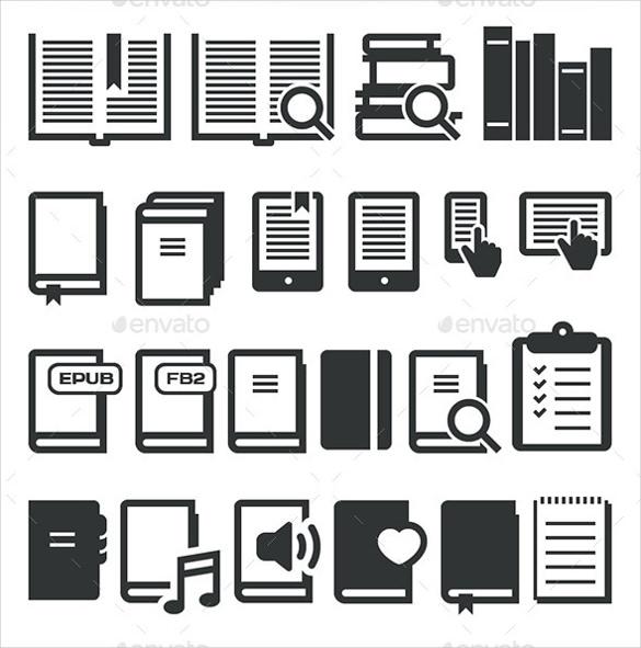 e book icons set download