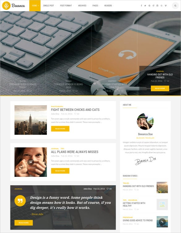 html modern blogging template