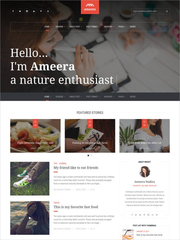 html minimal blogging template