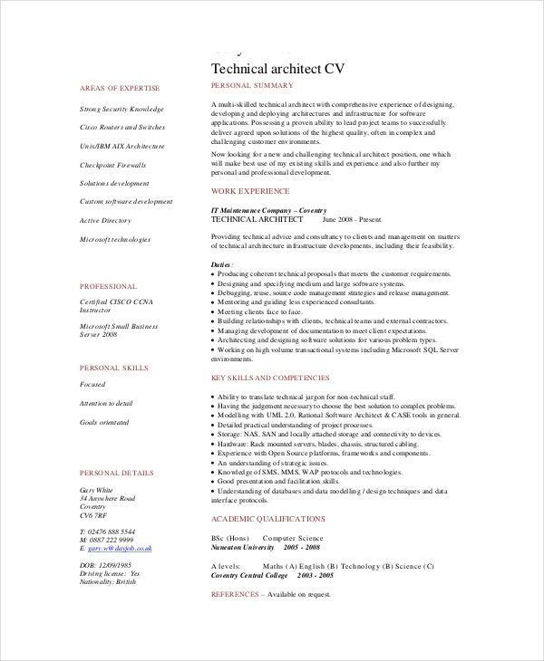software architect resume template - Architect Resume Samples