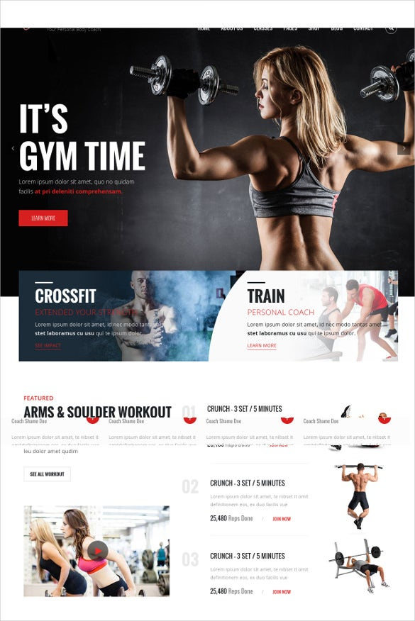gym fitness html blog template