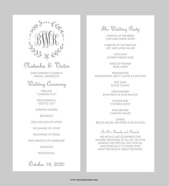 Beau Wedding Program Template Word FIle