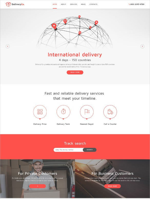 international delivery joomla website template