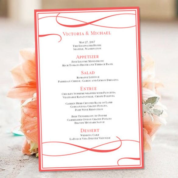 printable wedding menu template in word